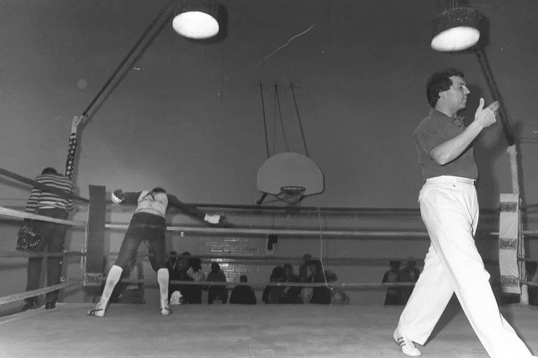 Silvered 67 Vintage Chicago Boxing Photos, circa 1980s For Sale