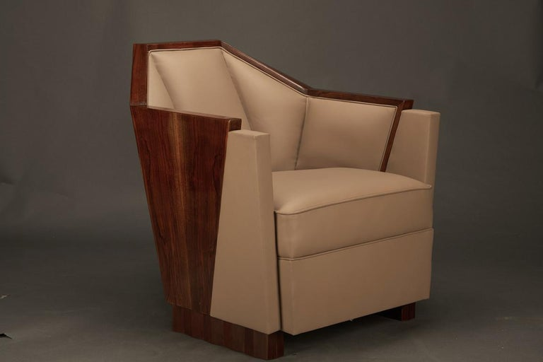 Pair of Art Deco French Armchairs in Walnut In Excellent Condition For Sale In Houston, TX