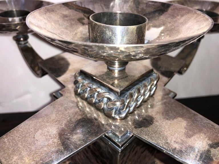 Silvered Pair of Candle Holders Done by Jean Despres For Sale