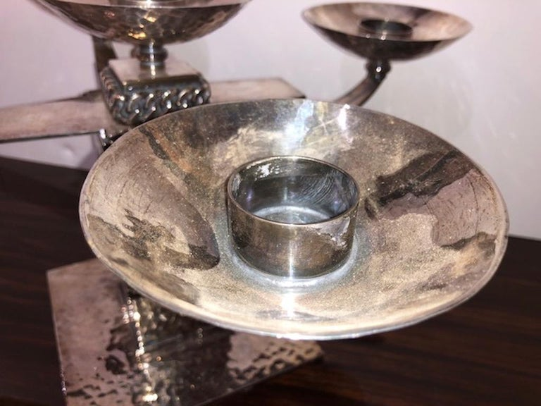 Metal Pair of Candle Holders Done by Jean Despres For Sale