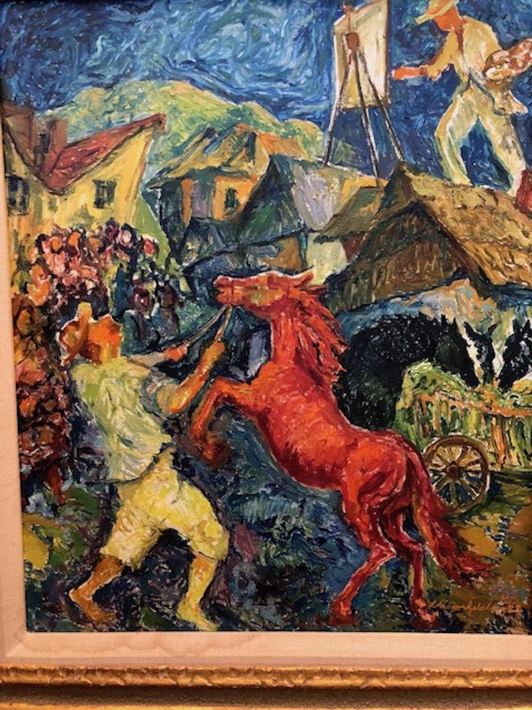 Chaim Goldberg (1917-2004).   Today, the similarities in style between Chagall and Goldberg are obvious. With his artwork, Goldberg with bright, cheerful colors has told the story of Jewish life in a period seldom remembered--the joy of life in