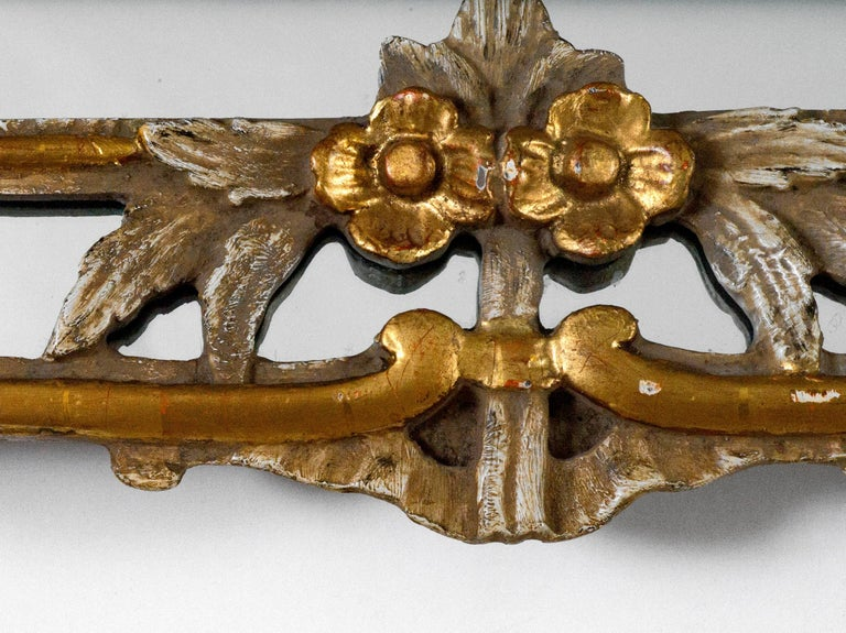 Regency Basket Top Mirror in Antique White with Gold Metal Leaf Trim For Sale