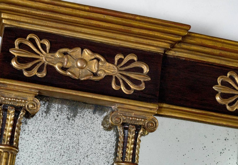 Horizontal Regency with faux rosewood background and three antique mirror panels Size: H 34