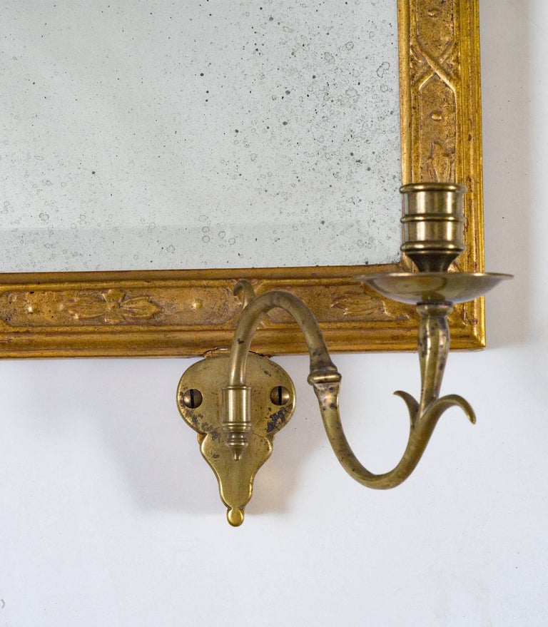 American Queen Anne Antique Gold Leaf Mirror For Sale