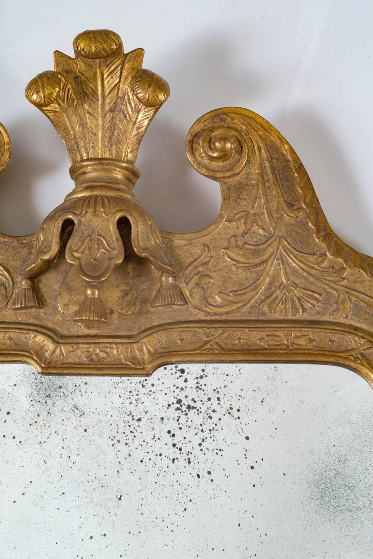 Gilt Queen Anne Antique Gold Leaf Mirror For Sale