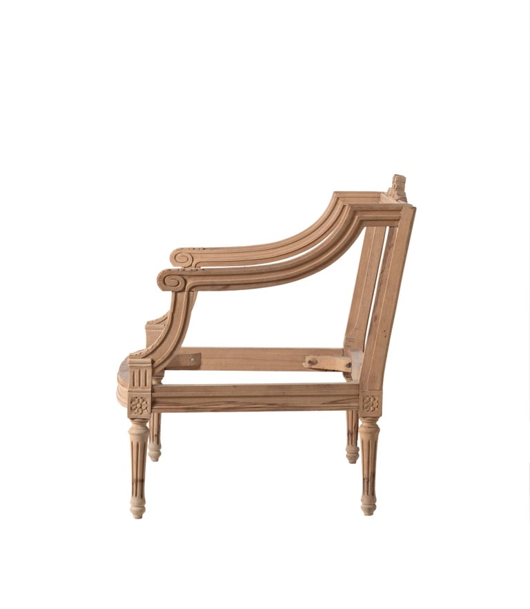 """Small child's Louis XVI loveseat hand-carved in Italy. Measures: H 27.5"""" x W 27.5. Sold as is unfinished in raw wood."""