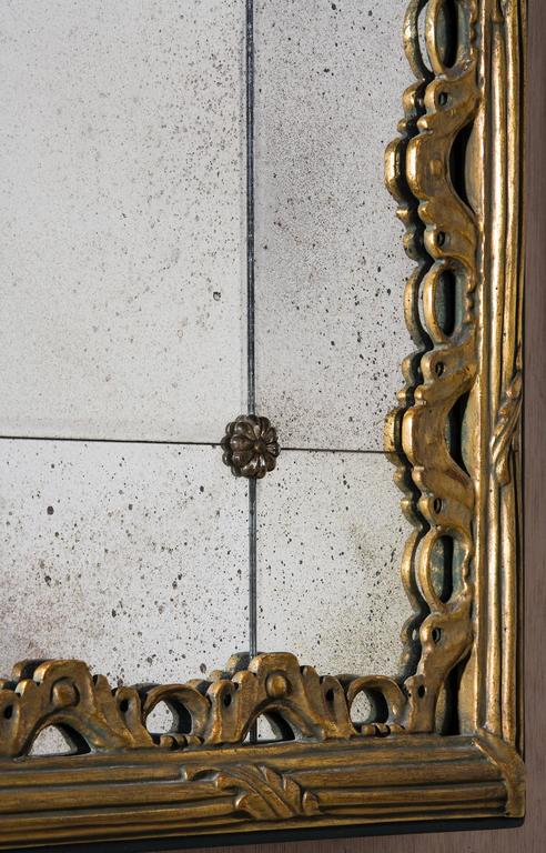 Reeded Rectangular Mirror With Sectioned Glass Border At