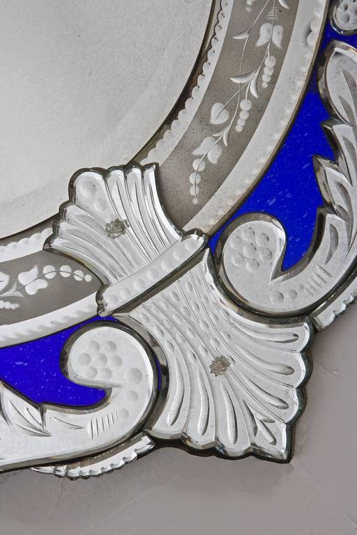 Oval Venetian Blue Ribbon Mirrors 4