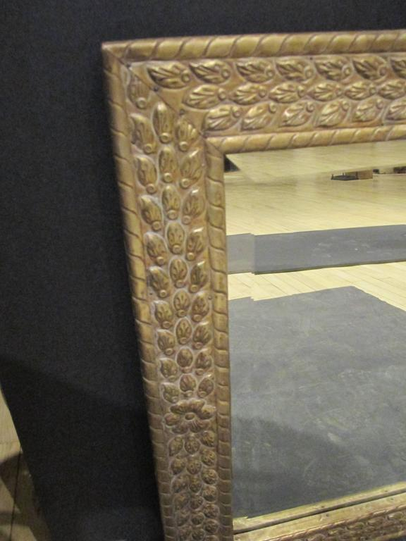 Metal clad mirror.  Rectangular overall size H 29 1/2