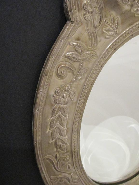 Egyptian Revival Oval Mirror Clad Mirror For Sale