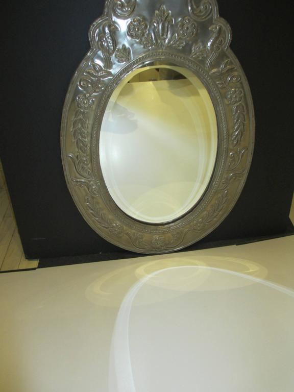 American Oval Mirror Clad Mirror For Sale