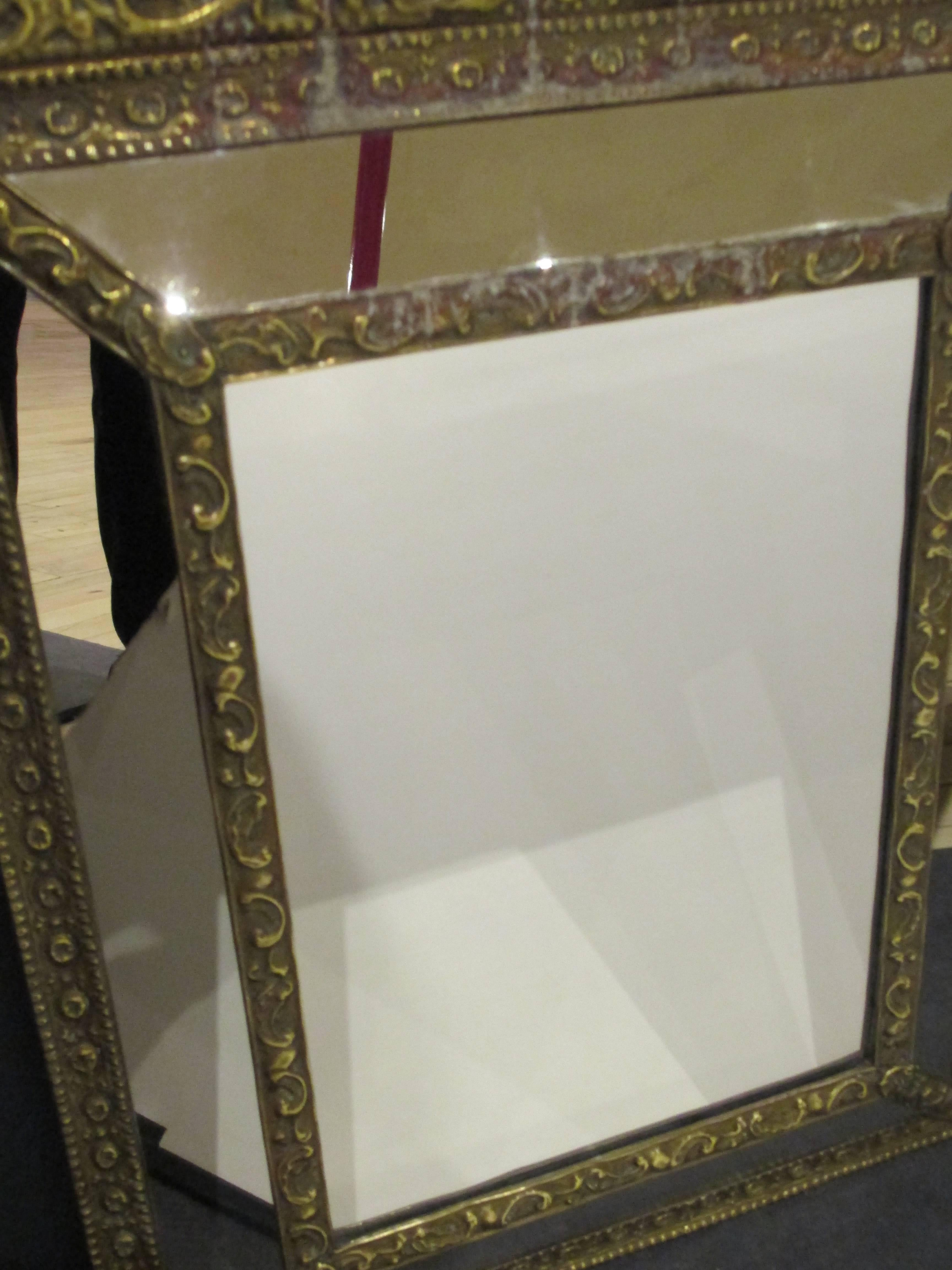Brass Tin Frame with Mirrored Border at 1stdibs