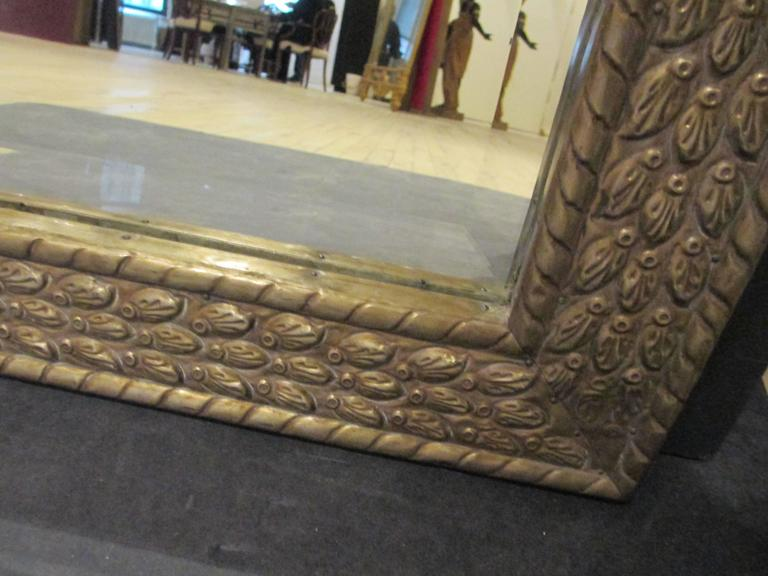 American Anglo-Japanese Style Horizontal Metal Clad Mirror For Sale