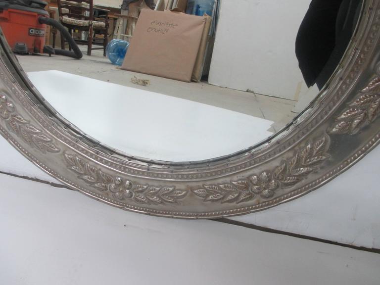 Greco Roman Round Metal-Clad Mirror For Sale