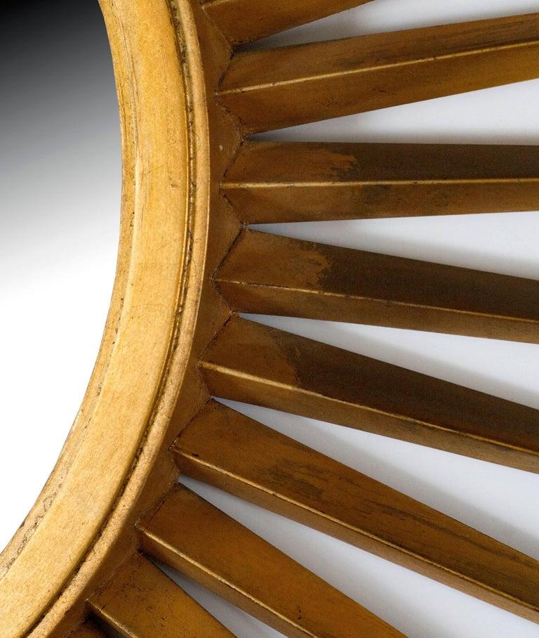 Art Deco Sunburst Mirror in Antique Gold Metal Leaf For Sale