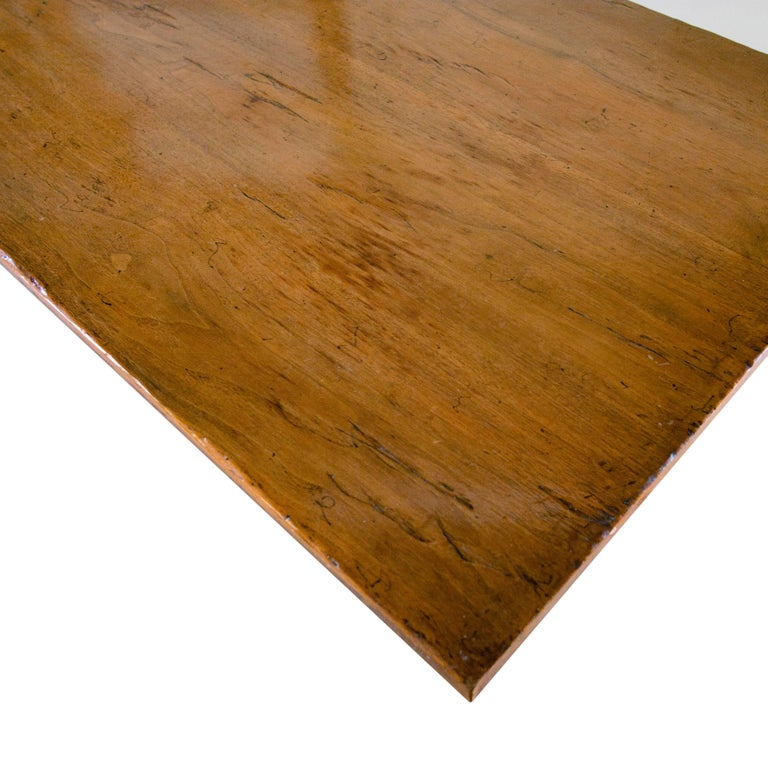 17th Century Solid Walnut Plank Top Table For Sale