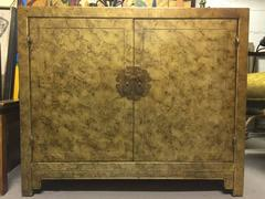 Vintage 1970's Faux Tortoise Shell Oil Drop Finish Two Door Cabinet by Henredon