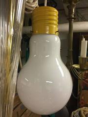 Vintage Italian Design Pop Art Ingo Maurer Style Metal and Glass Lightbulb Light