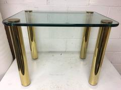 Vintage Pace Brass and Glass Rectangular Coffee End Table with Cylindrical Legs