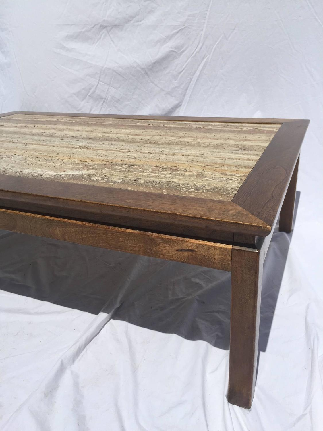 Young Travertine Marble And Wood Coffee Table For Sale At 1stdibs. Full resolution  portraiture, nominally Width 1125 Height 1500 pixels, portraiture with #816C4A.