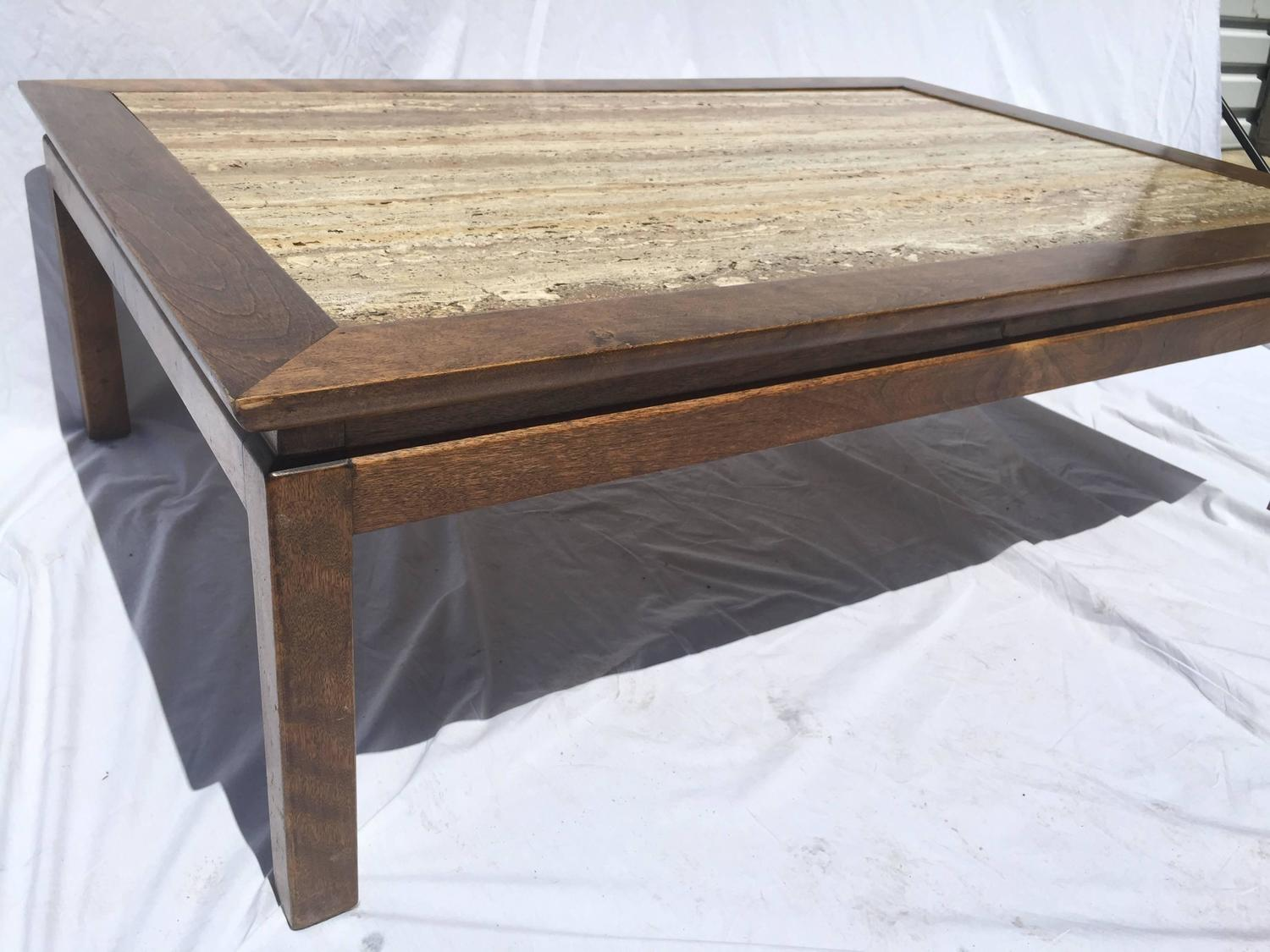 Mid Century Cal Mode Monteverdi Young Travertine Marble And Wood Coffee Table For Sale At 1stdibs