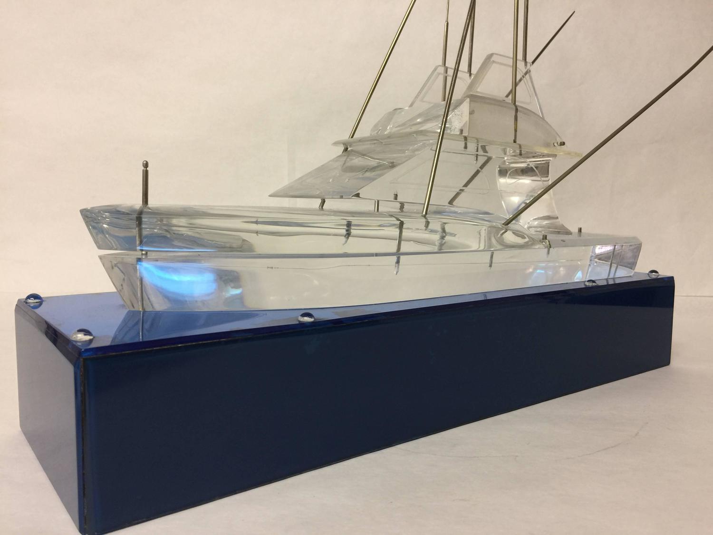 Vintage lucite acrylic deep sea sport fishing boat model for Deep sea fishing boat for sale