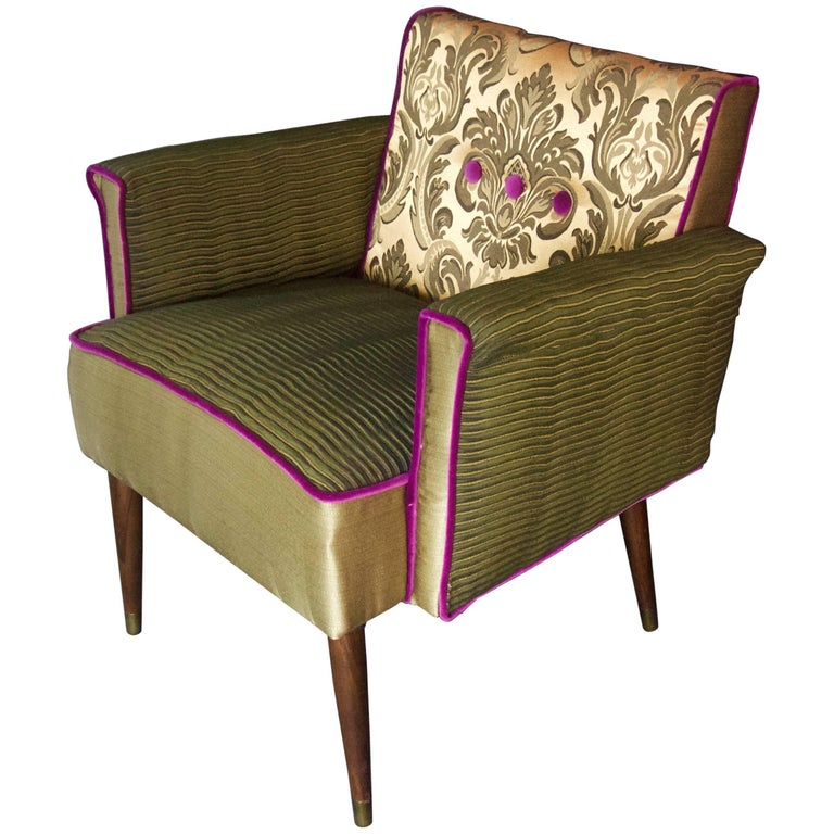 Midcentury Armchair in Forest Green and Gold
