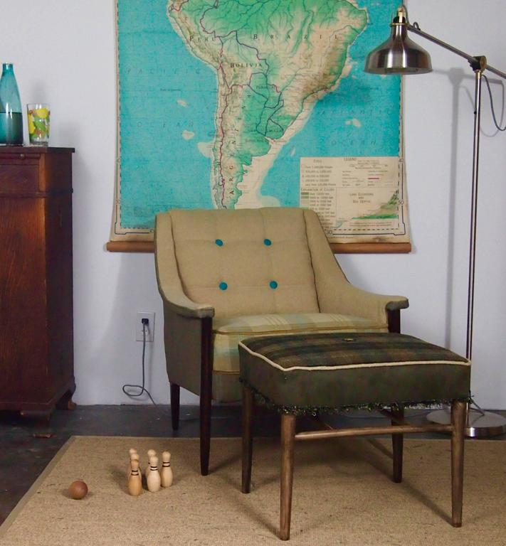 Midcentury Ottoman In Olive Green And Black Plaid At 1stdibs