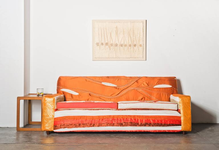 This sofa is part of the Gendo Collection, the first collaboration between couture-trained fabric artist and designer, Maki Yamamoto and Melissa Dougherty, designer and creator of one-of-a-kind upholstered seating. The collection includes a sofa,