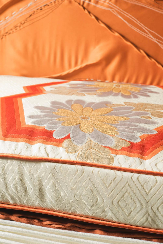 Mid Century Sofa With Handmade Textiles And Vintage Obi