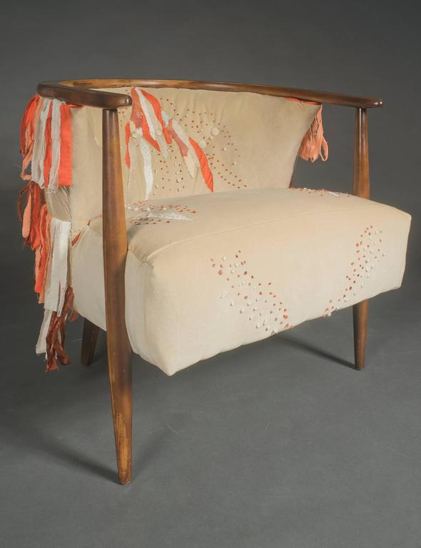 Unknown Mid Century Ivory Barrel Chair with Hand Embroidery For Sale