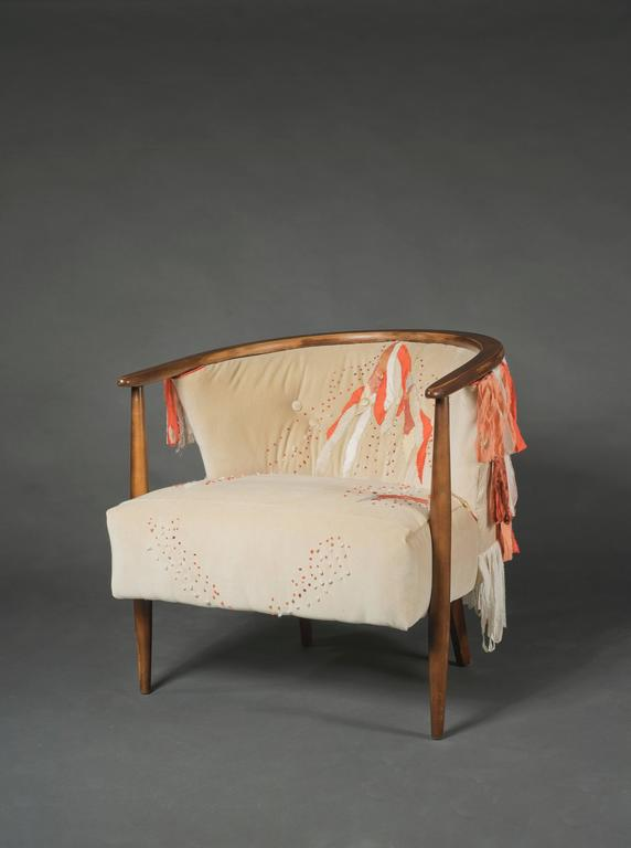 Hand-Crafted Mid Century Ivory Barrel Chair with Hand Embroidery For Sale