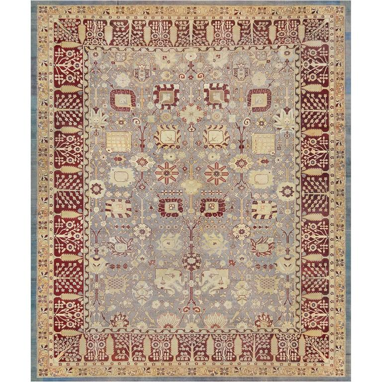 Deep Burgundy Indian Agra Rug For Sale At 1stdibs: Late 19th Century Agra Rug From North India For Sale At