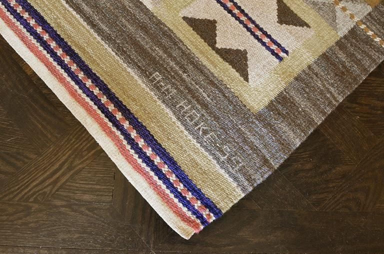Hand-Woven Mid 20th Century Swedish Rug Signed by Anna Maria Hoke For Sale