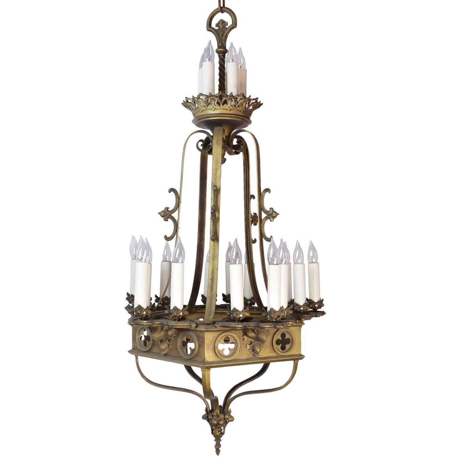 1930s Gothic Twenty Candle Chandelier For Sale at 1stdibs