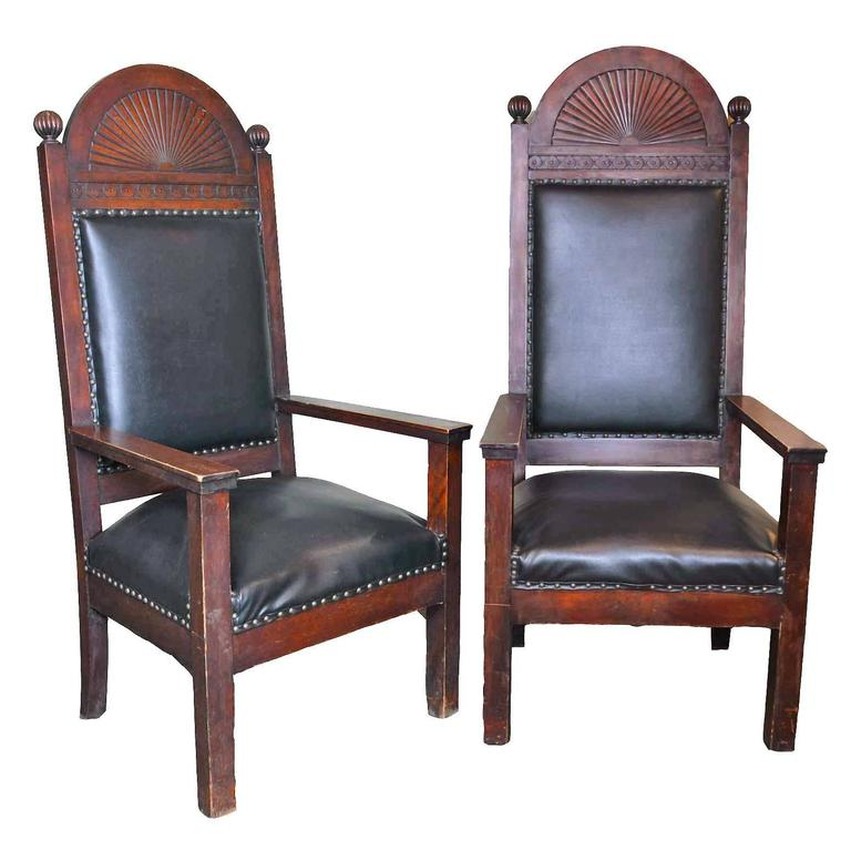 Walnut Lodge Chair with Decorative Carved Arch by Shaw Furniture Co., Boston, MA For Sale
