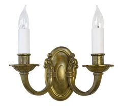 Handsome Two-Arm Hammered Cast Brass Sconce