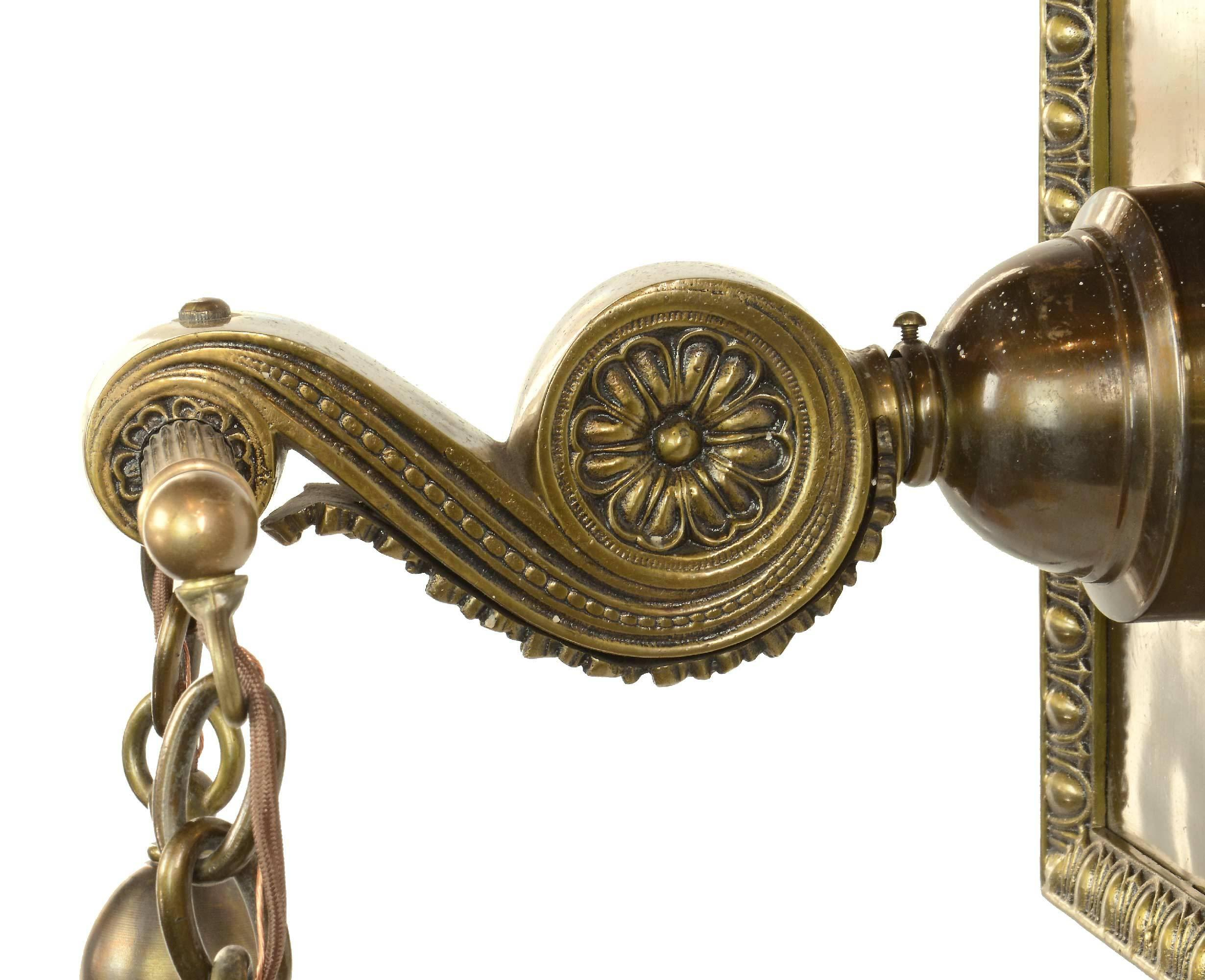 Cast Brass Sconce With Art Glass Shades Circa 1895 For Sale At 1stdibs