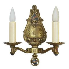 Cast Brass Two Arm Tudor Sconce - Two Available