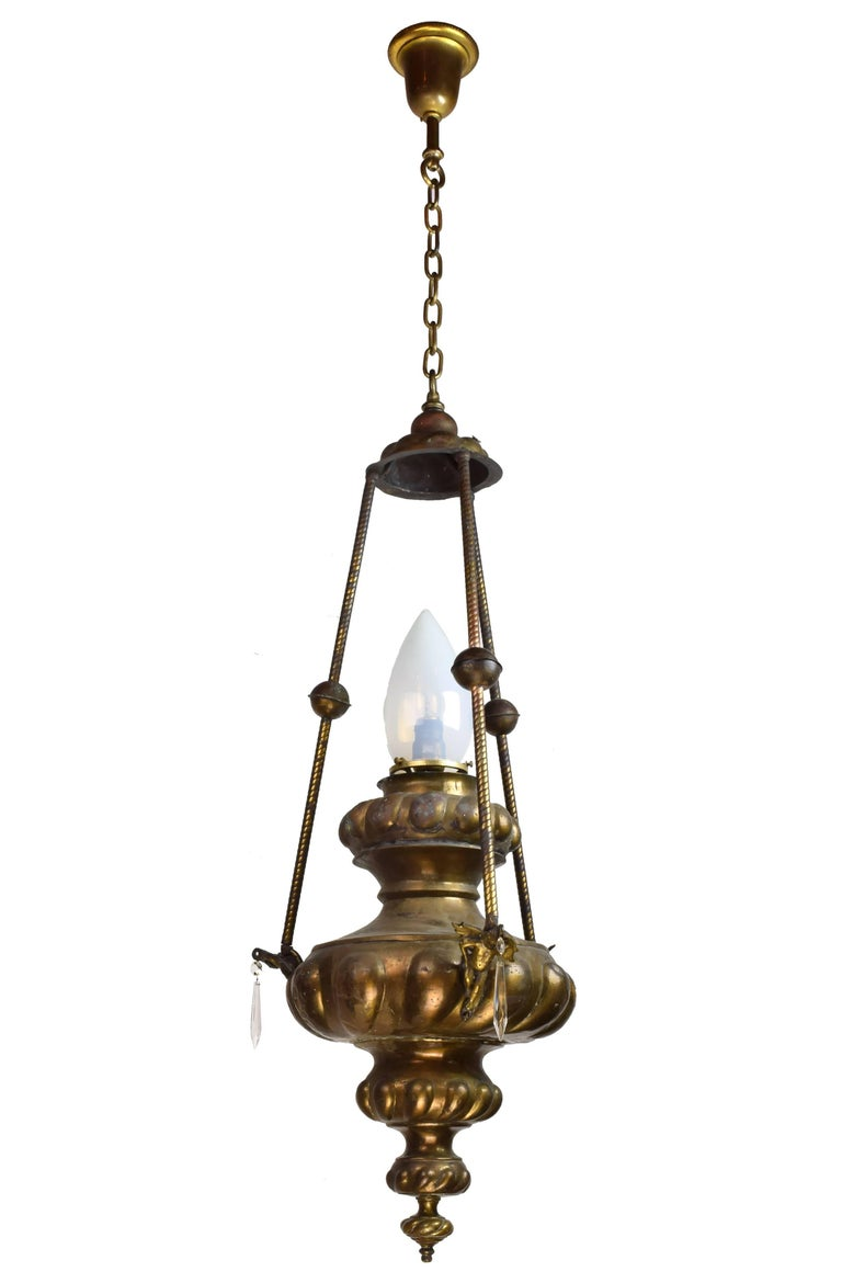 Brass Urn Pendant with Cupids circa 1915 For Sale at 1stdibs