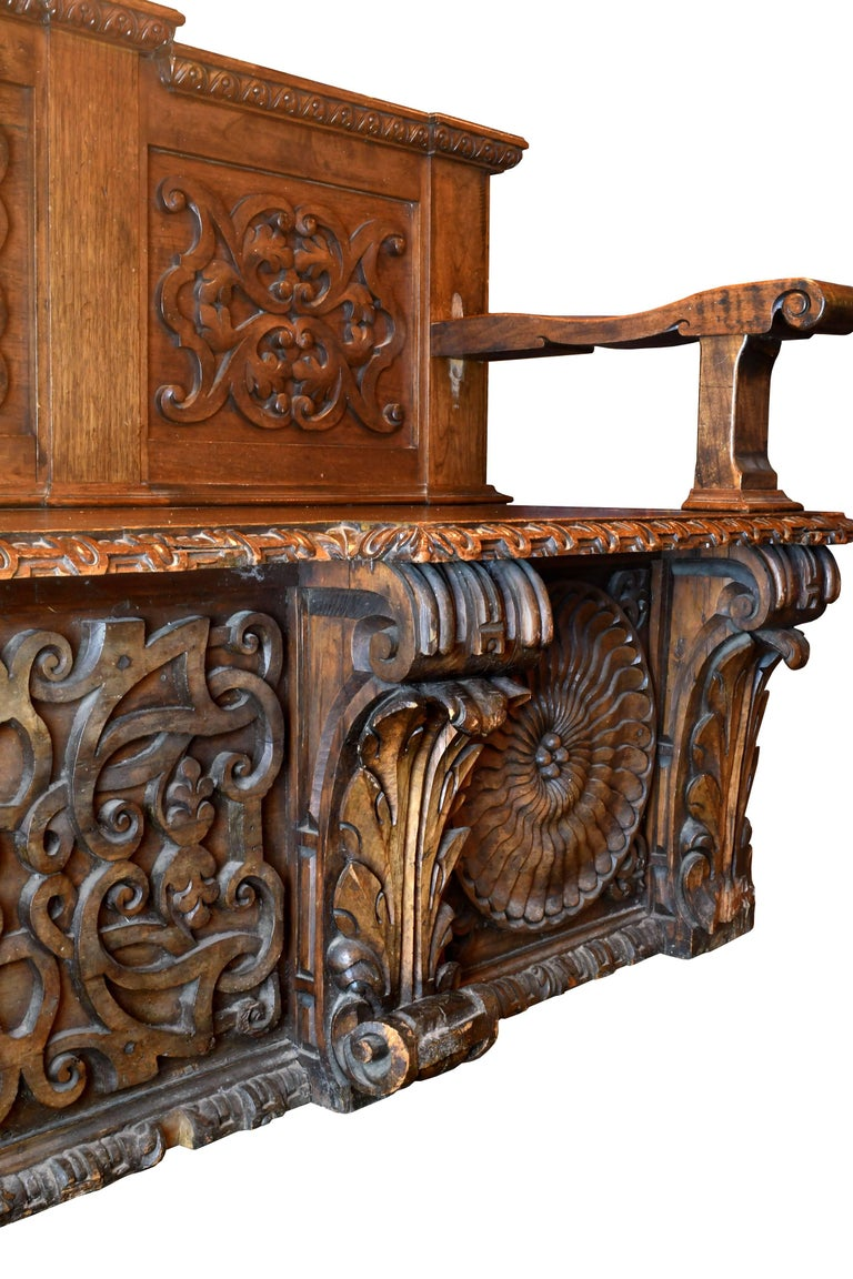 Baroque Revival European Carved Wood Bench, circa 1868 For Sale