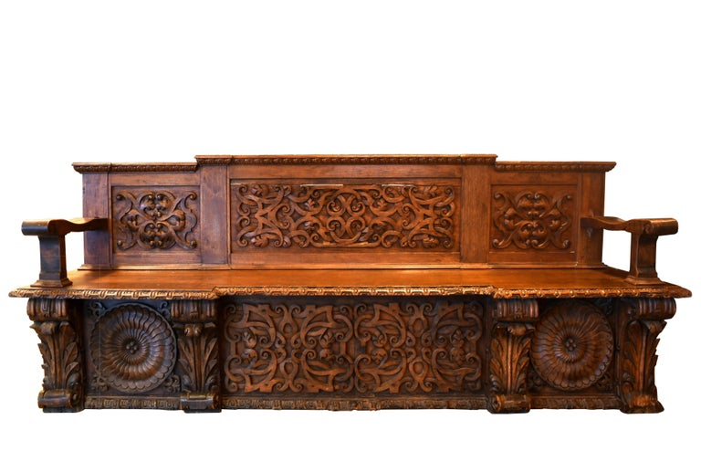 European Carved Wood Bench, circa 1868 For Sale 1