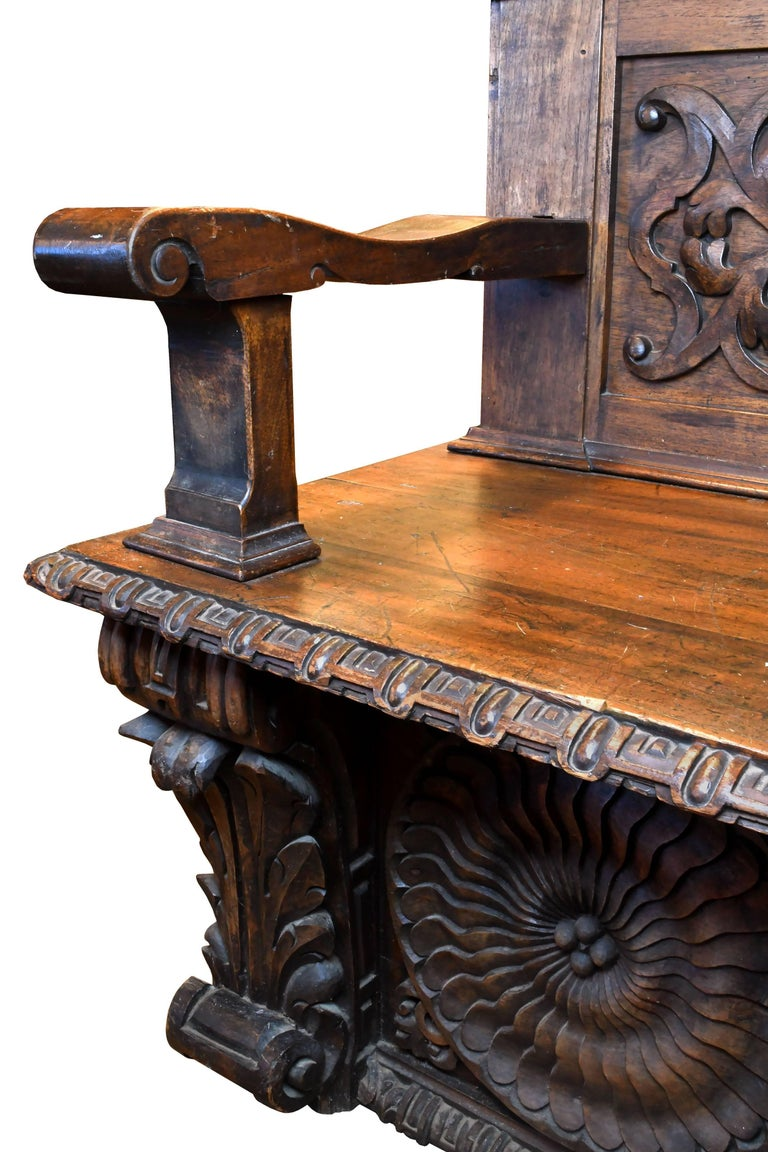 European Carved Wood Bench, circa 1868 For Sale 2