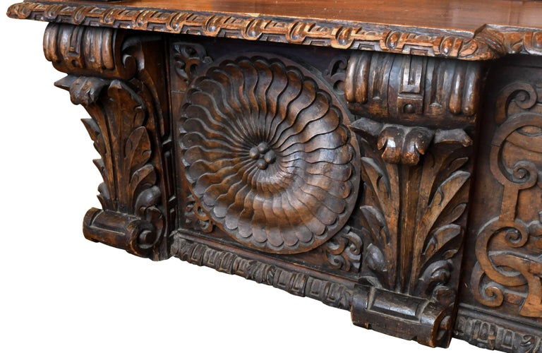 European Carved Wood Bench, circa 1868 For Sale 3
