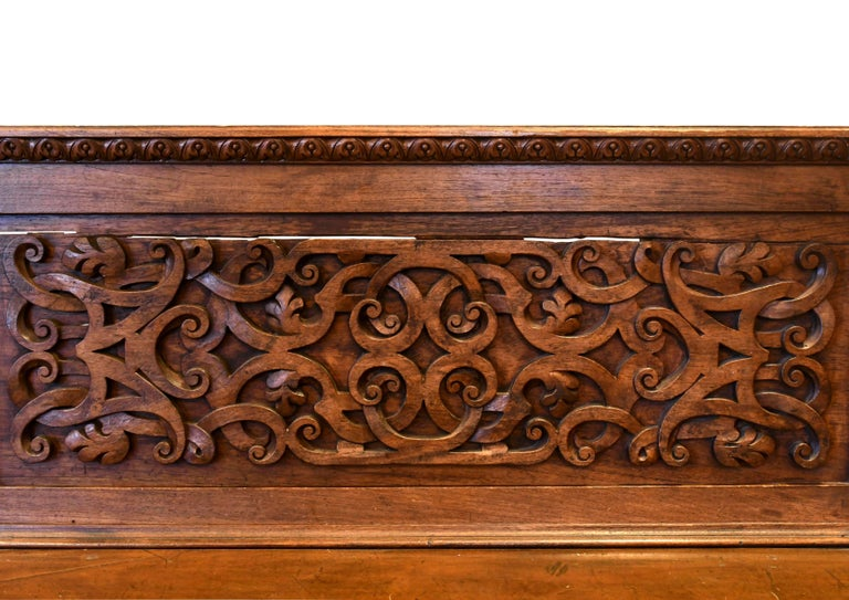 European Carved Wood Bench, circa 1868 For Sale 4