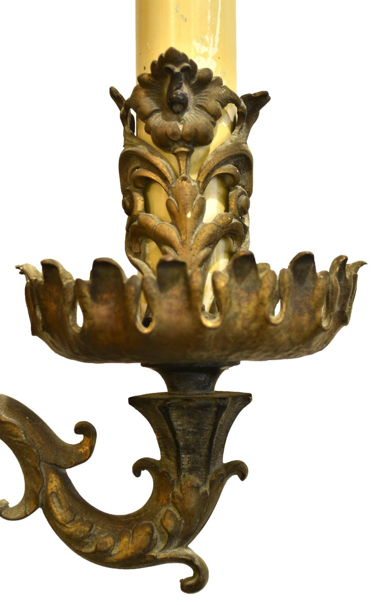 Oversized Wall Sconces For Candles : Brass and Bronze Oversized Three Candle Wall Sconce For Sale at 1stdibs