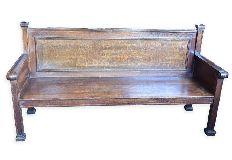 American Quartersawn Oak Train Bench For Sale