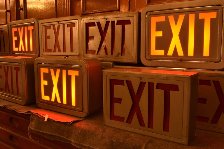 Steel Exit Sign, Quantity Available In Fair Condition For Sale In Minneapolis, MN