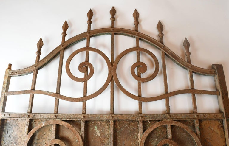 American Arched Iron Door with Scrollwork, circa 1900 For Sale