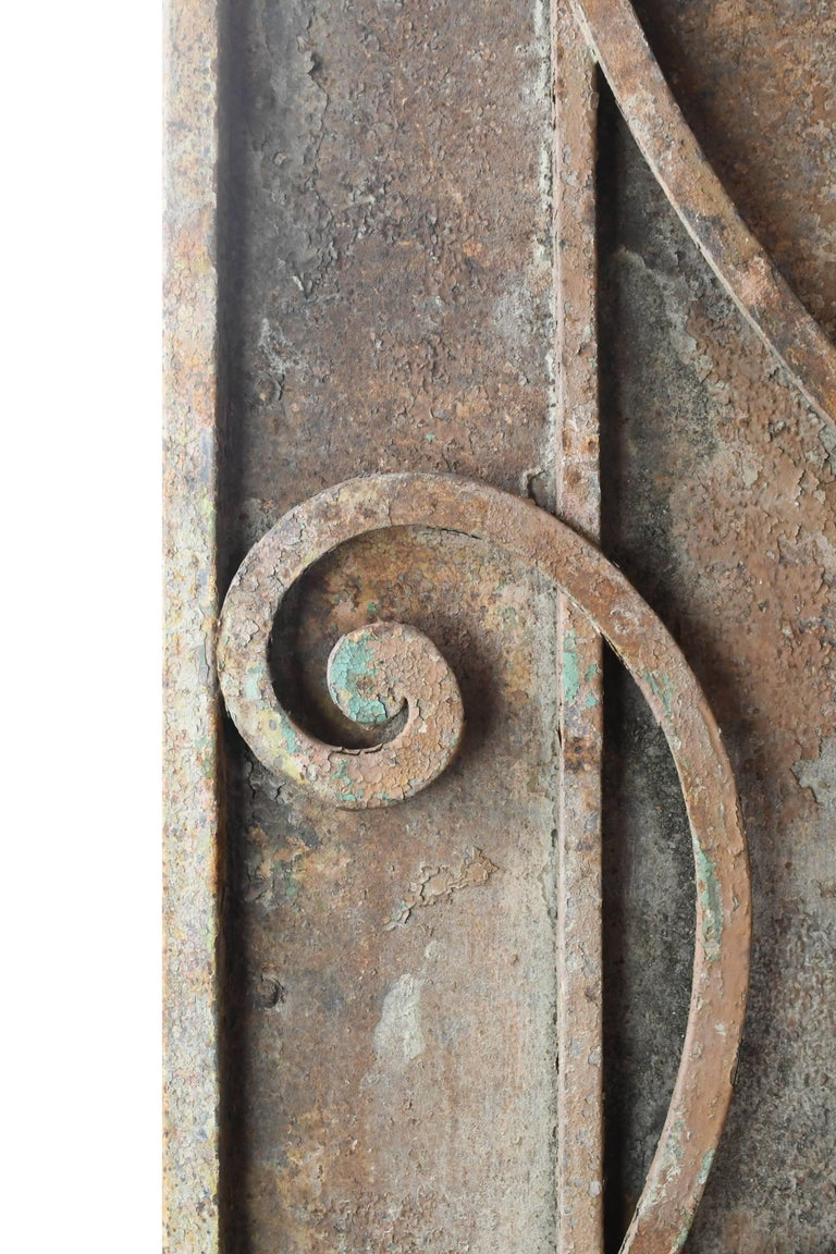 Victorian Arched Iron Door with Scrollwork, circa 1900 For Sale